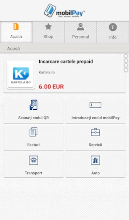 Screenshot Main Screen mobilPay Wallet