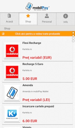Screenshot Services Screen mobilPay Wallet